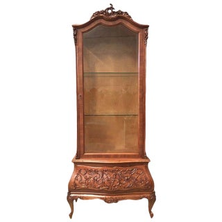 19th Century Dutch Burl Walnut and Carved Cabinet With Glass Door and Drawer For Sale