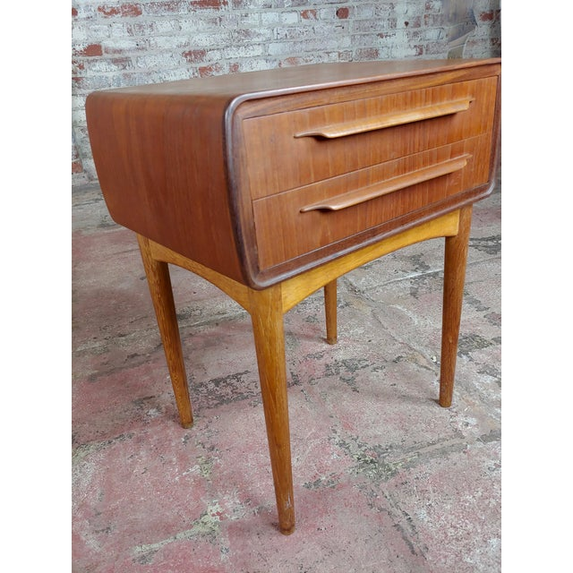 Johannes Andersen-Two Drawer Teak Bedside Tables-Mid Century Danish-A Pair For Sale In Los Angeles - Image 6 of 10