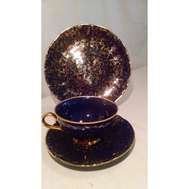 Blue Vintage German Teacup, Saucer & Salad Plate - Set of 3 For Sale - Image 8 of 8