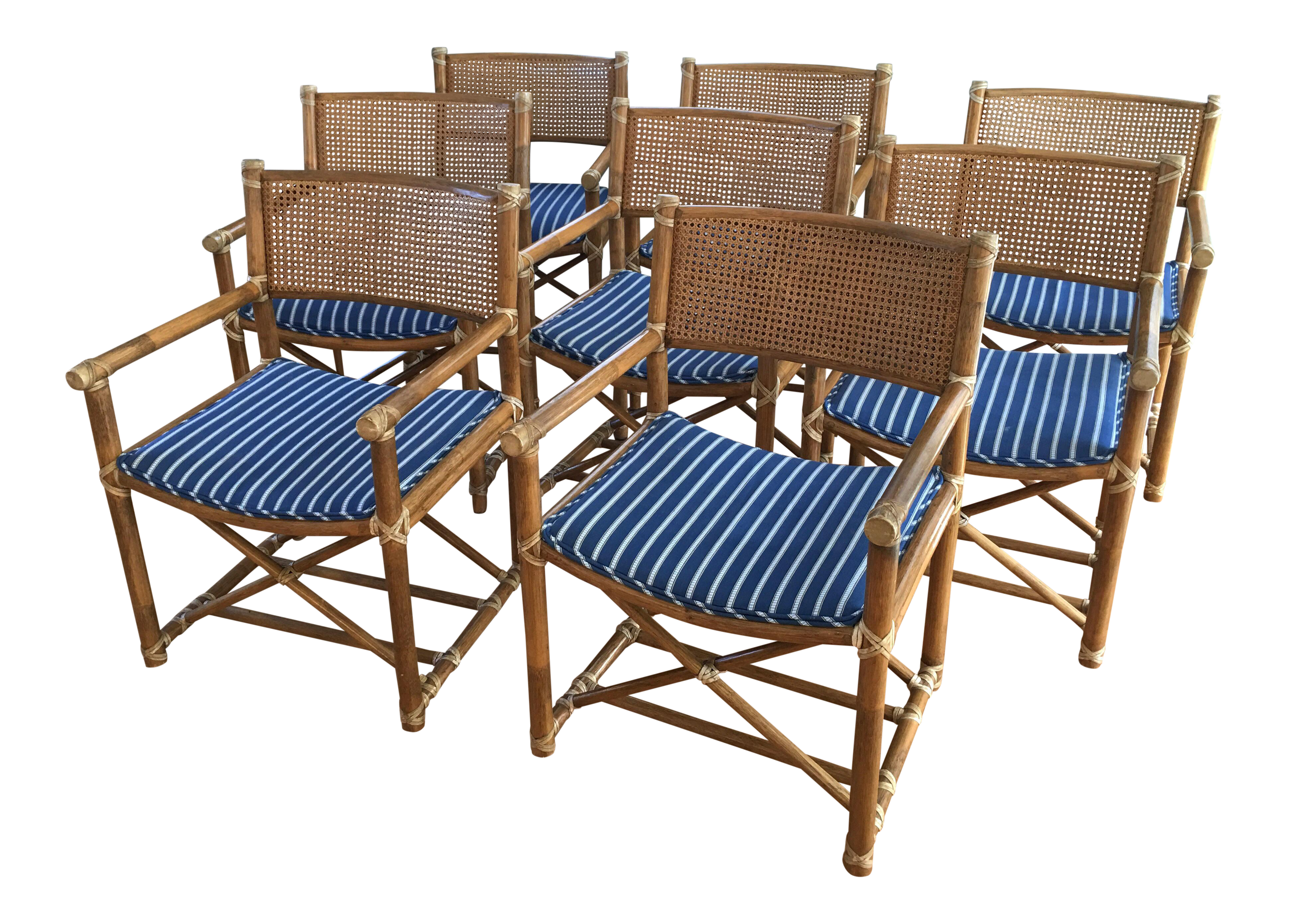 Mcguire Bamboo Cane Leather Strap Chairs Set Of 8