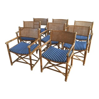 McGuire Bamboo Cane Leather Strap Chairs - Set of 8