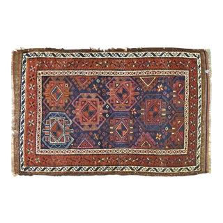 "1940s Afghan Burnt Orange and Navy Wool Rug - 2'11""x4'7"" For Sale"