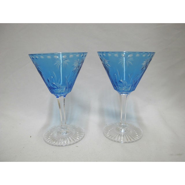 Art Nouveau William Yeoward Cut Crystal Blue Glass Palm Tree Alexis Martini Glass Set - a Pair For Sale - Image 3 of 8