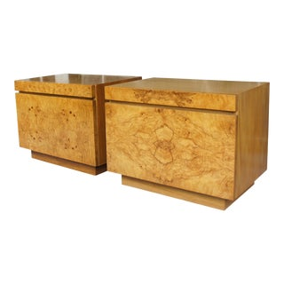 1970s Mid-Century Modern Milo Baughman for Lane Altavista Bookmatched Burl Olivewood Nightstands - a Pair For Sale