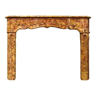 French Regence Style Breche d'Alep Marble Mantel For Sale