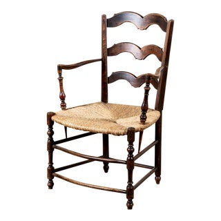 Antique Rustic Rush-Seat Chair For Sale