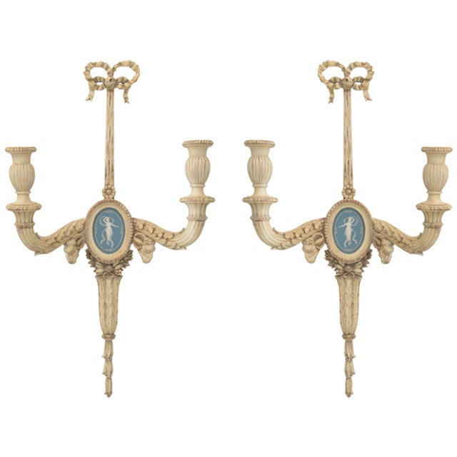 Pair of 19th Century Carved Wood Sconces Centered by Wedgewood Bisque Plaques For Sale - Image 10 of 10