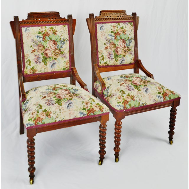 Victorian Eastlake Side Chairs - a Pair For Sale - Image 4 of 13