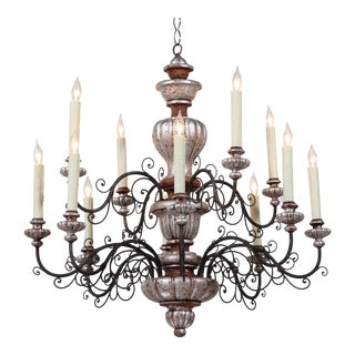 Italian 1940s Painted Carved Wood and Iron Chandelier For Sale