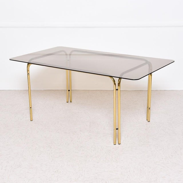 Brass 1970s Vintage Italian Smoked Glass Dining Table For Sale - Image 8 of 8