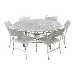 Late 20th Century Vintage Cast Aluminum Scroll Arm Metal Patio Dining Table & Chairs - Set of 7 For Sale