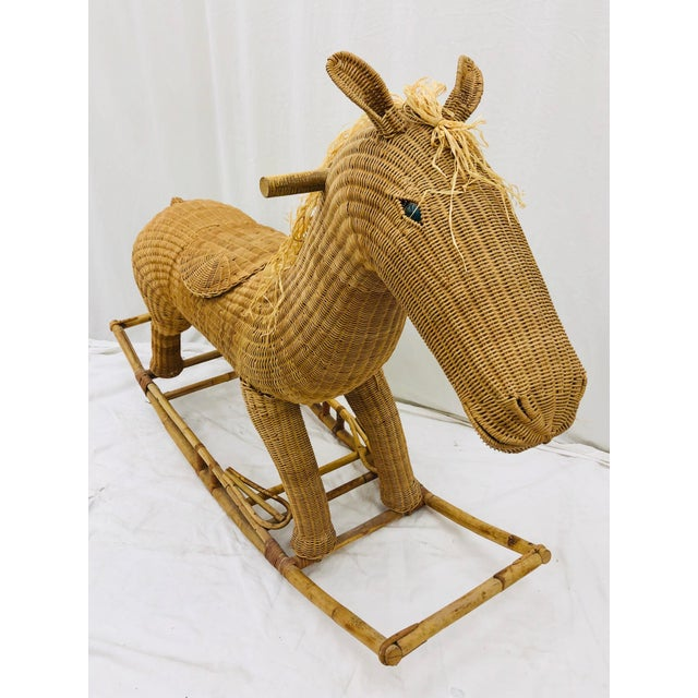 Vintage Wicker & Rattan Rocking Horse For Sale - Image 12 of 12