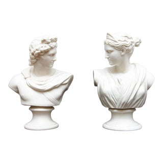 Apollo and Diana Classical Parian Busts - a Pair For Sale
