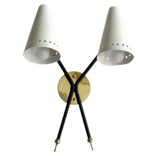 French Double-Arm Wall Light by Arlus For Sale