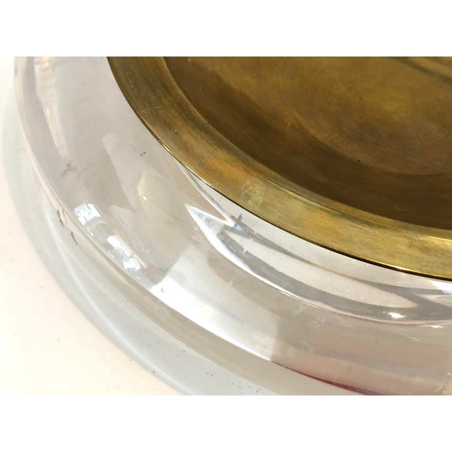 Metal Mid-Century Set of Lucite & Brass Catchall & Lighter For Sale - Image 7 of 13