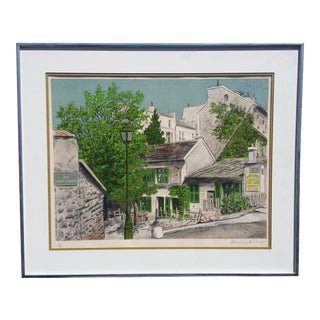 1960s Parisian Street Scene Signed/Numbered Gallery Lithograph Print For Sale