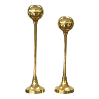 Modernist Brass Candlestick Holders - a Pair For Sale