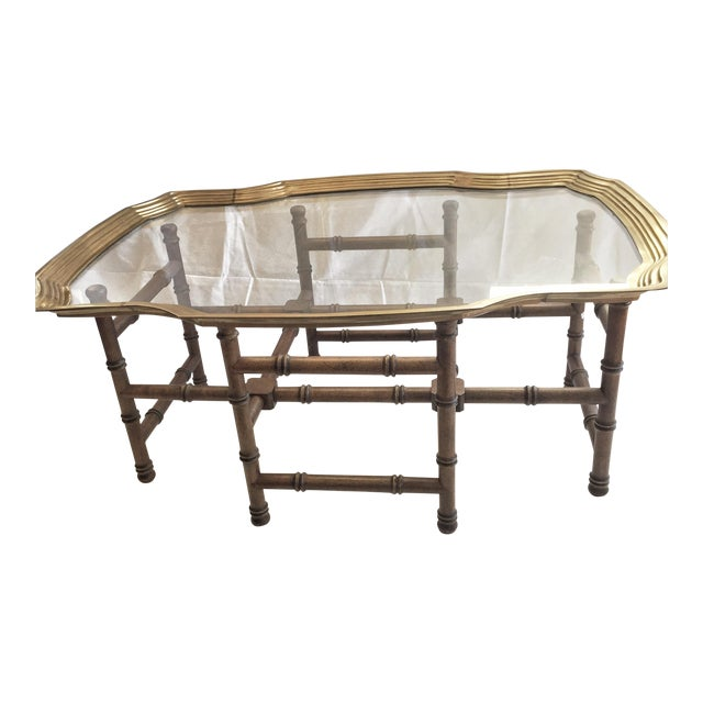Vintage Brass Tray Coffee Table Faux Bamboo Base - Image 1 of 6