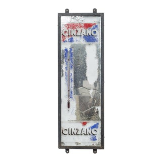 Antique Cinzano MIrror Advertisement With Thermometer C.1930 For Sale