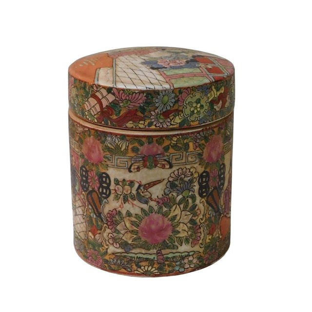 This is a Chinese decorative porcelain box with people scenery painted on the surface. It is a Republic of China period...