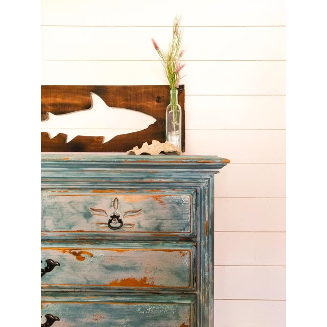 Maple Distressed Coastal Solid Maple Tallboy/Dresser/Chest of Drawers For Sale - Image 7 of 10