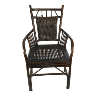 Boho Chic Rattan Pole and Cane Arm Chair For Sale
