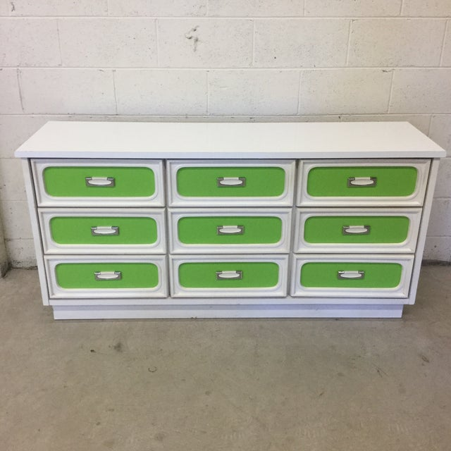 Mid Century Lime Green & White 9 Drawer Dresser For Sale - Image 13 of 13