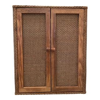 Redmon Mid-Century Wicker Hanging Cabinet For Sale