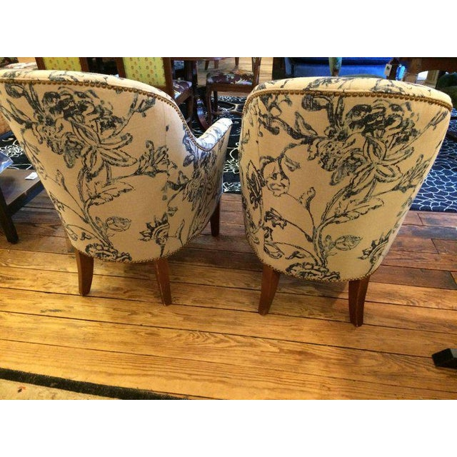 Blue & White Linen Club Chairs - A Pair - Image 3 of 7