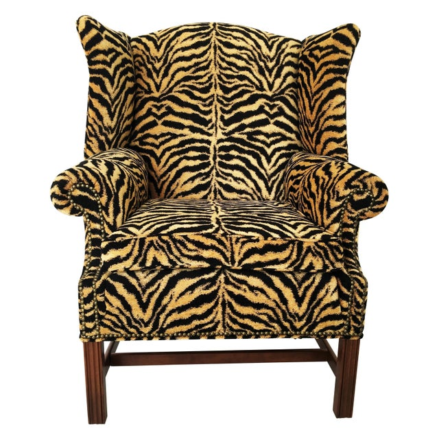 Yellow Georgian Style Mahogany Wingback Armchair in Scalamandré Le Tigre For Sale - Image 8 of 8