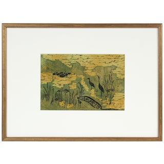 "Carol Cunningham ""Nelumbo"" Marsh Landscape With Birds, Linocut Print on Paper, Circa 1960s Circa 1960s For Sale"