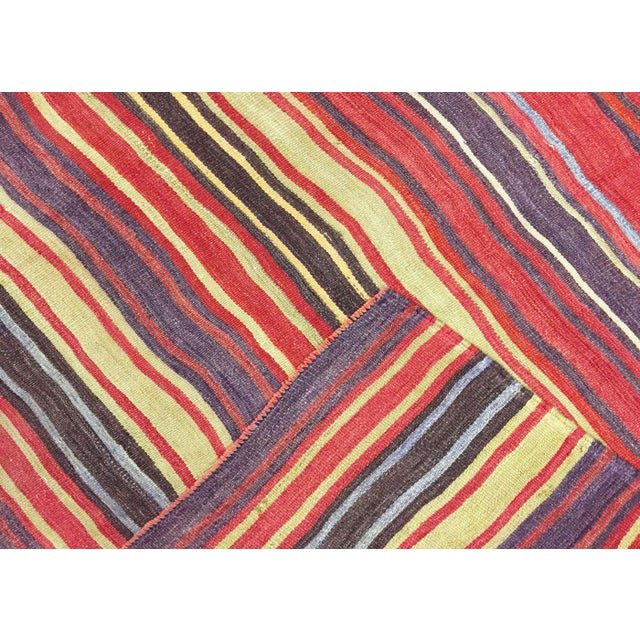 "Traditional Nalbandian - 1950s Turkish Striped Kilim - 4'4"" X 5'5"" For Sale - Image 3 of 4"