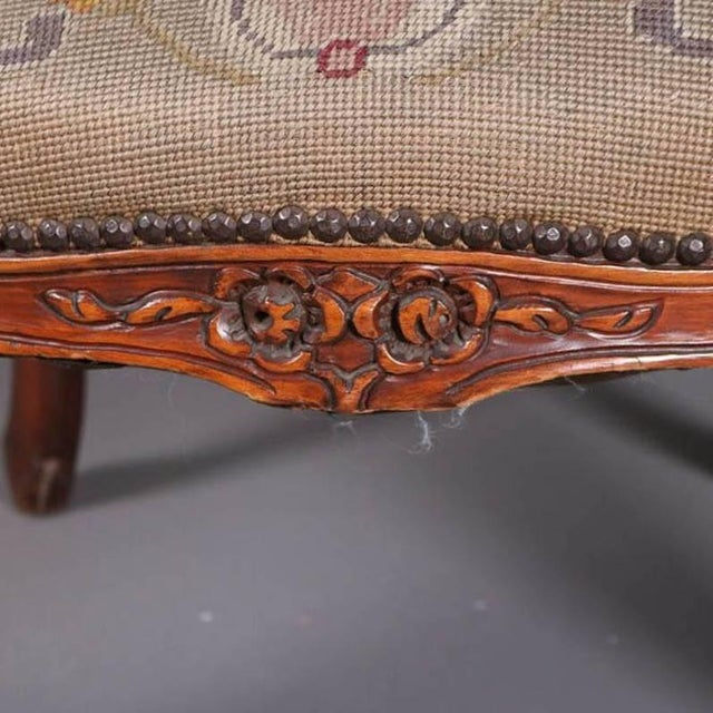 19th Century Antique French Louis XVI Carved Fruitwood Armchair With Needlepoint For Sale - Image 5 of 7