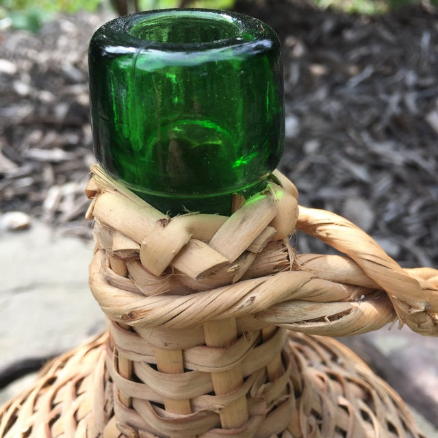Vintage Rattan Wicker Wrapped Green Glass Jug For Sale In Baltimore - Image 6 of 11