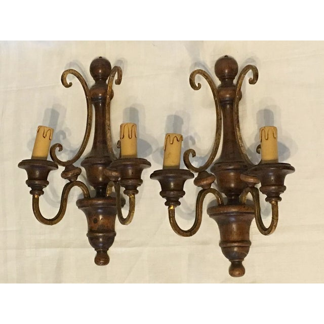 Wood and Gilded Metal Shabby Chic Sconces - A Pair - Image 2 of 5