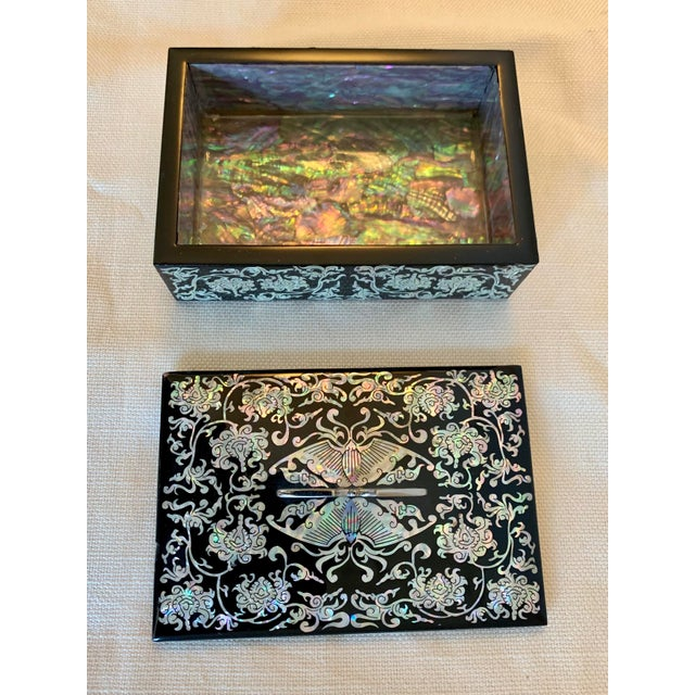 Early 21st Century Mother of Pearl and Lacquer Inlay Box For Sale - Image 5 of 9