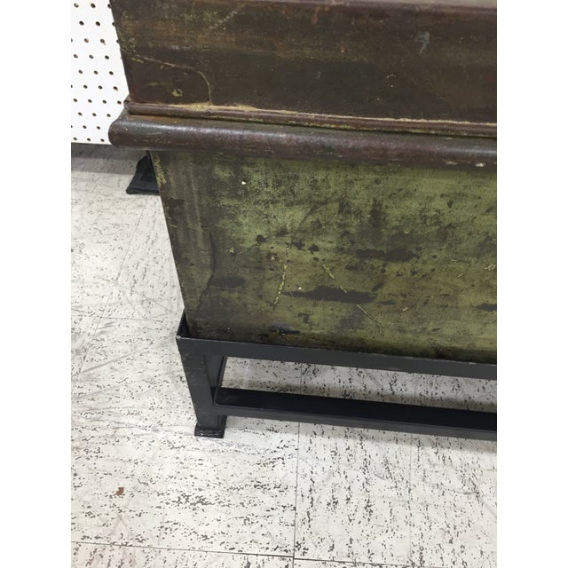Antique English Military Metal Trunk on Stand For Sale - Image 4 of 7
