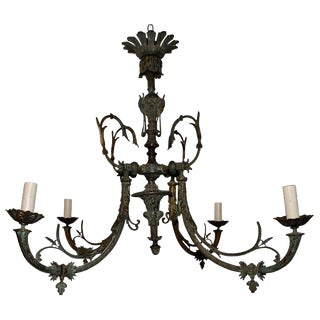Large Late 19th Century French Bronze Chandelier For Sale