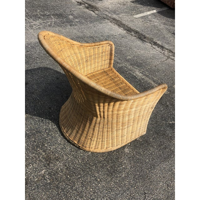 Vintage 80s High Back Rattan Chair For Sale In Miami - Image 6 of 8