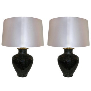 VeArt 1960s Black Glass With Speckles Table Lamps - a Pair For Sale