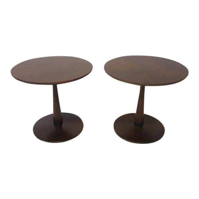 Kipp Stewart for Drexel Declaration Walnut Pedestal Side Tables For Sale