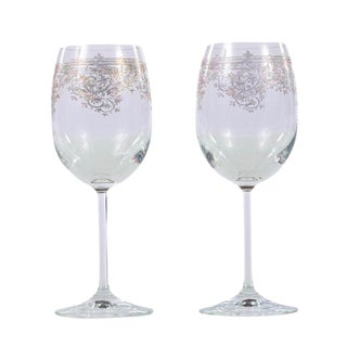 Vintage Wine Glasses With Gold Etched Design - A Pair For Sale