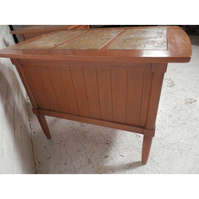 Brown Marble Top End Tables With Tambour Doors - a Pair For Sale - Image 8 of 8
