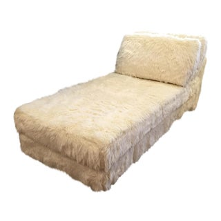 Custom Faux Fur Chaise on Lucite Legs