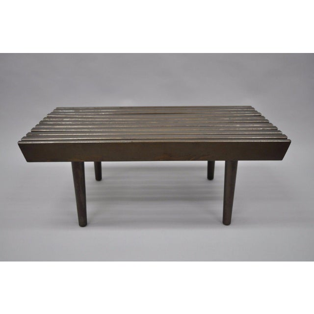 Item: Vintage Mid Century Modern Solid Wood Slat Bench / Coffee Table Details: Solid wood construction, Tapered legs,...