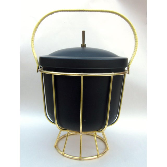 Vintage 1950s Ernest Sohn Creations Matte Black and Gold Ice Bucket For Sale - Image 10 of 10