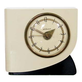 1940s Art Deco McClintock White Lacquered Brass Electric Alarm Table Clock For Sale