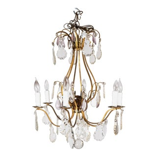 19th Century Brass with Crystal Drops Chandelier For Sale