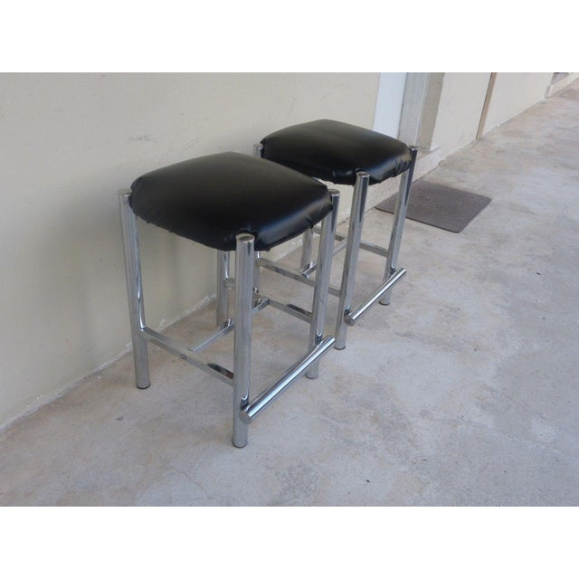 Mid-Century Modern 1970's Backless Chrome Bar Stools - a Pair For Sale - Image 3 of 10