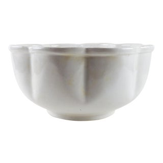 Large Scallop Side White Ironstone Bowl For Sale
